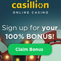 Get your 100% bonus at Casillion Caino