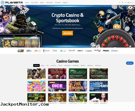 Playbetr Cryptocurrency Casino and Sportsbook Screenshot