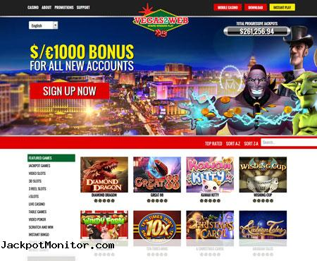 Vegas2Web Online Casino Screenshot